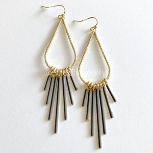 Enamel Drop Earrings Hammered Gold & Gray